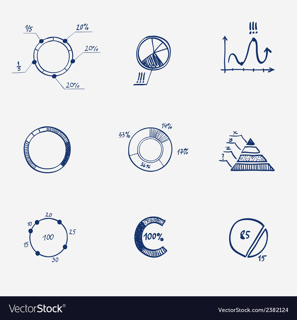 Set of circle chart diagram graph pie hand draw vector | Price: 1 Credit (USD $1)