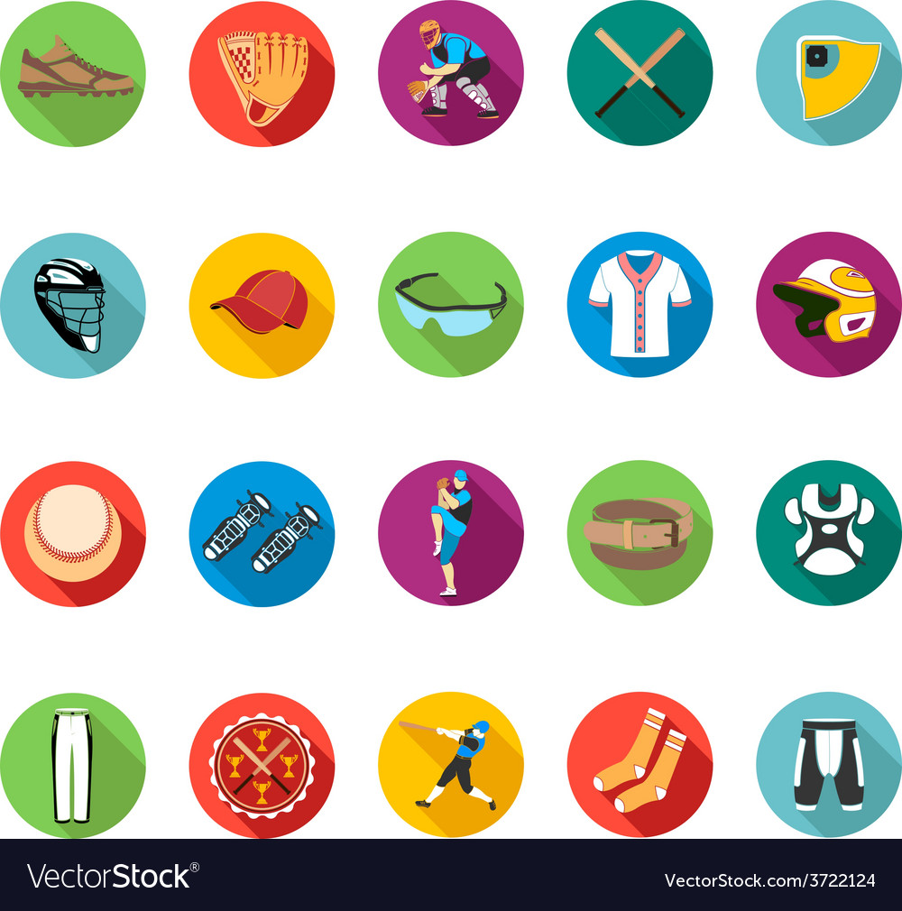 Set of colored flat icons of baseball vector | Price: 1 Credit (USD $1)