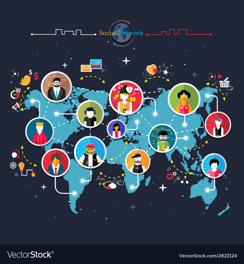 Social media network connection concept vector | Price: 1 Credit (USD $1)