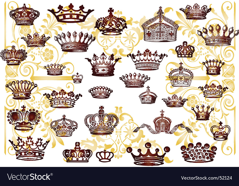 Vintage crown set vector | Price: 1 Credit (USD $1)