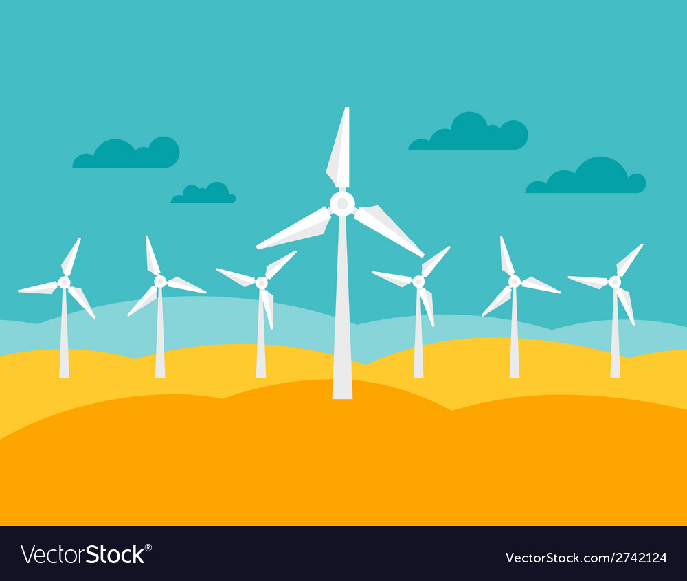 Wind energy power plant in flat style vector | Price: 1 Credit (USD $1)