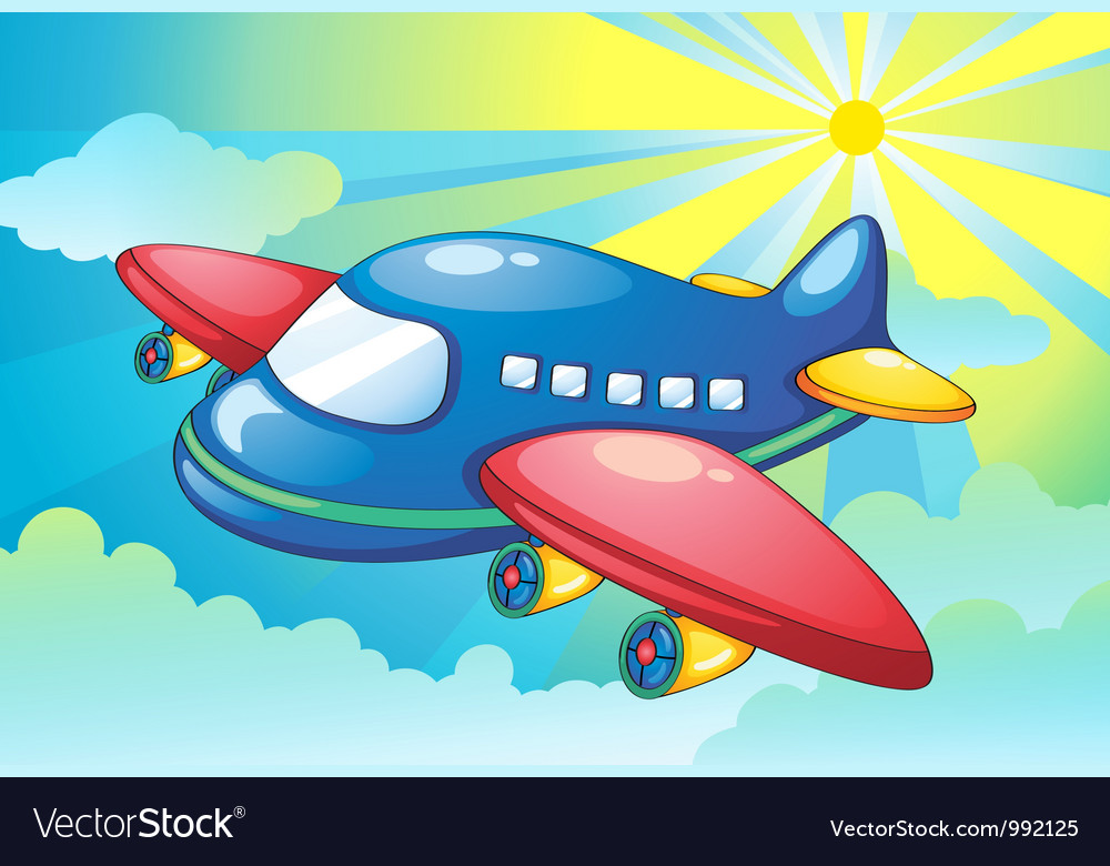 Aeroplane flying background vector | Price: 1 Credit (USD $1)