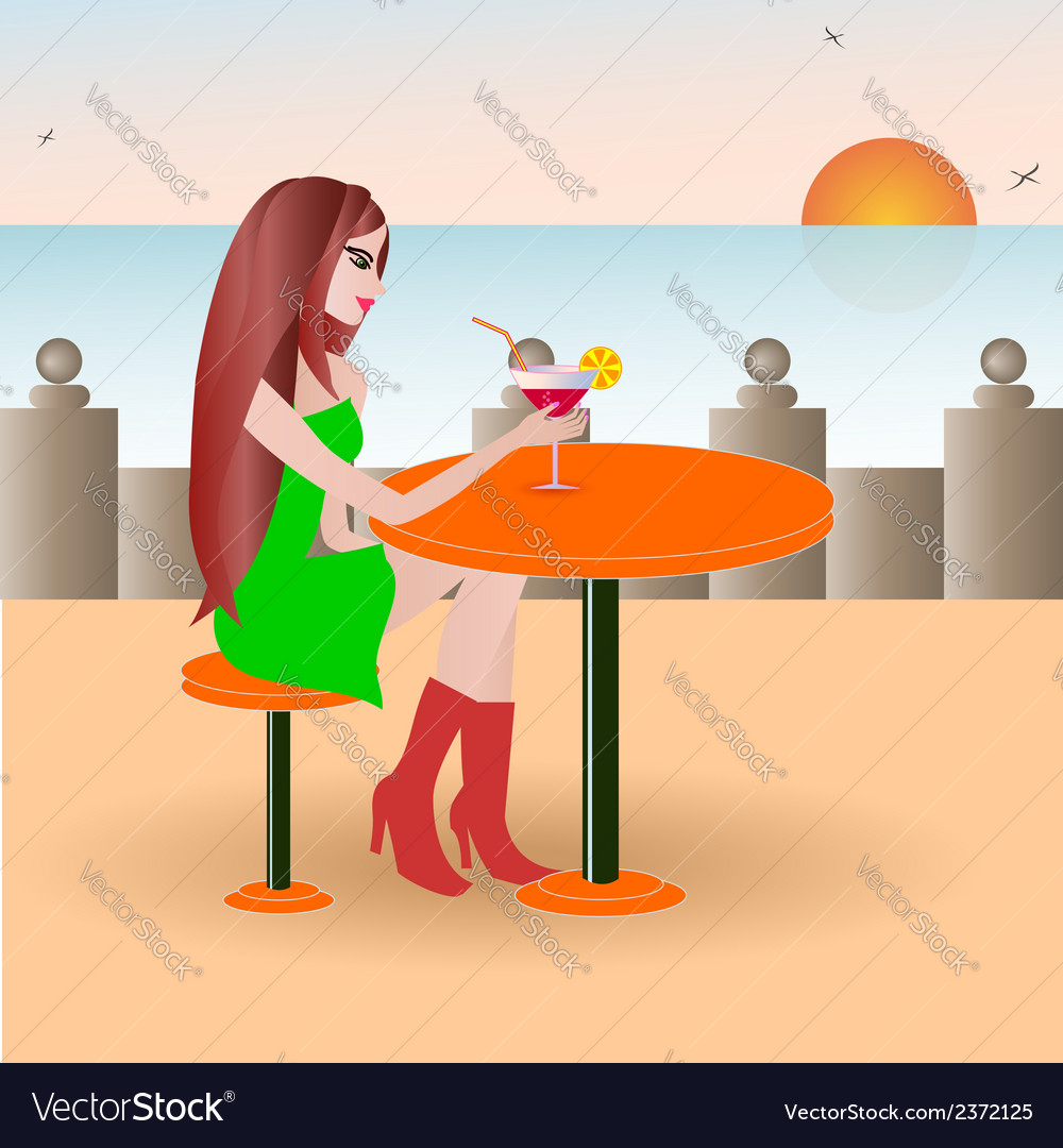 Beautiful girl on the beach cafe vector | Price: 1 Credit (USD $1)