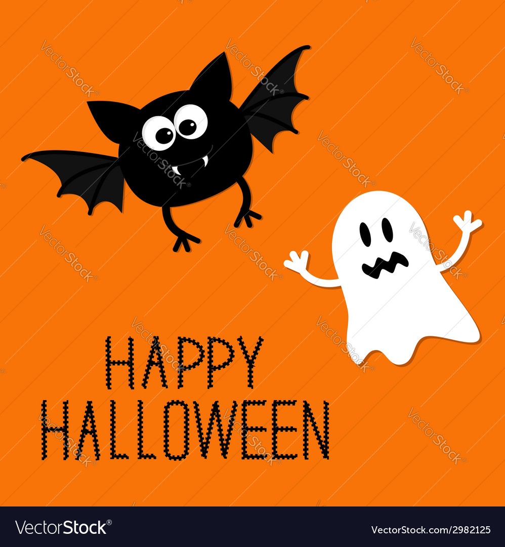 Cute cartoon bat and ghost happy halloween card vector | Price: 1 Credit (USD $1)