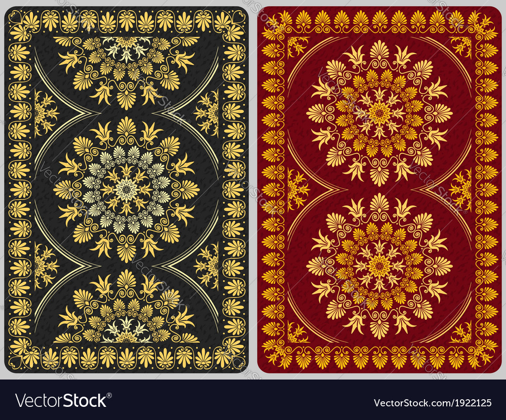 Design playing cards with floral ornament vector | Price: 1 Credit (USD $1)