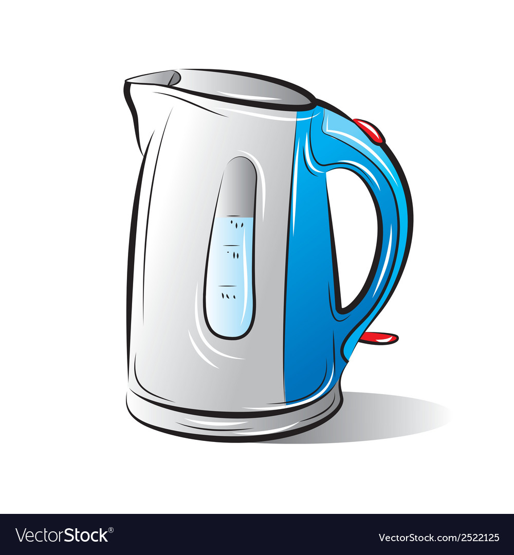 Drawing of the blue teapot kettle vector | Price: 1 Credit (USD $1)