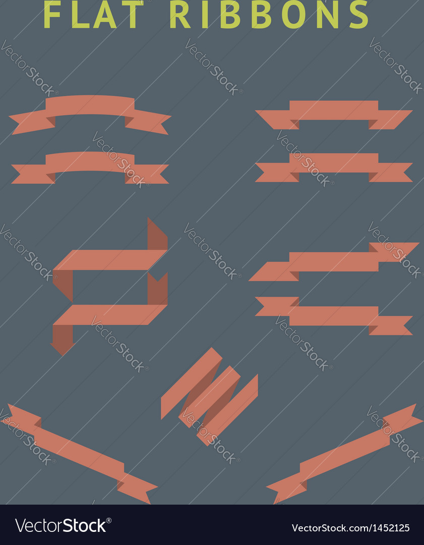 Flat red ribbons vector | Price: 1 Credit (USD $1)