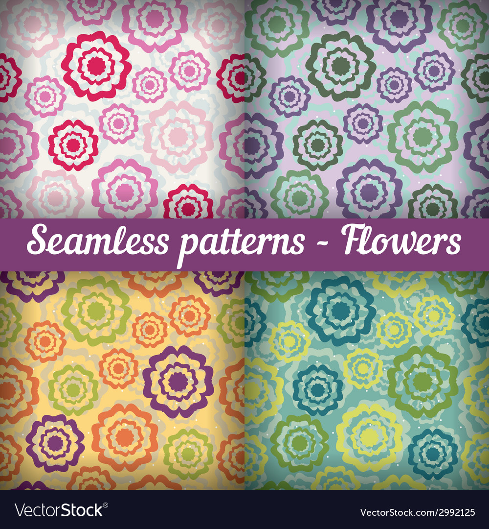 Flowers seamless pattern set abstract background vector   Price: 1 Credit (USD $1)