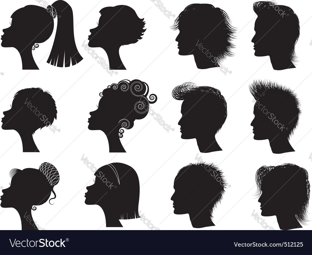 Hairstyle silhouettes vector | Price: 1 Credit (USD $1)