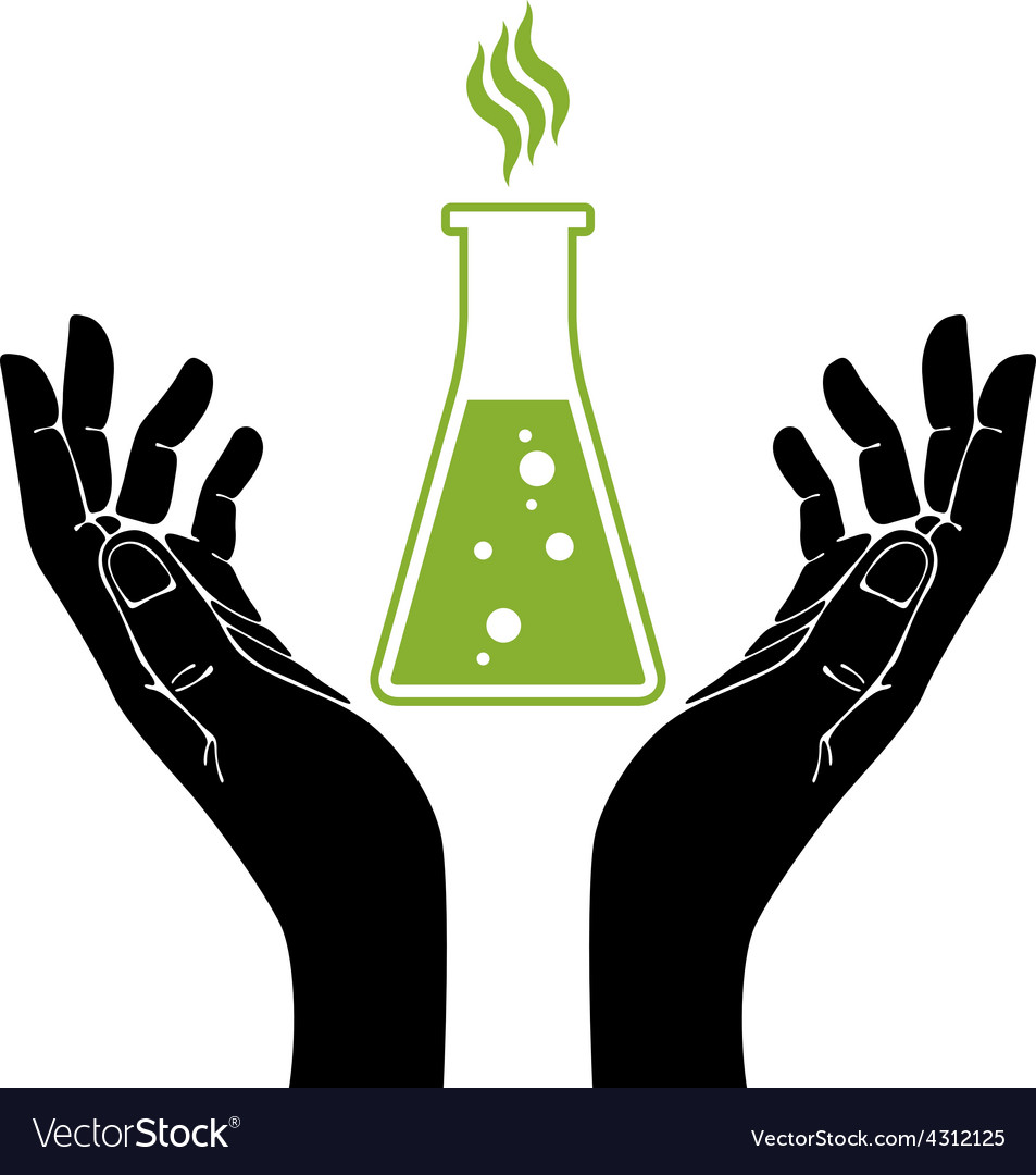 Hands with chemical flask symbol vector | Price: 1 Credit (USD $1)