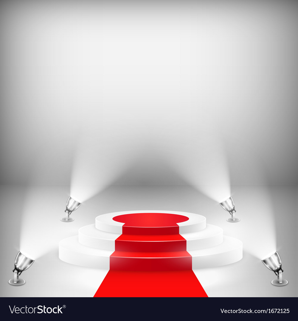 Illuminated podium with red carpet vector | Price: 1 Credit (USD $1)