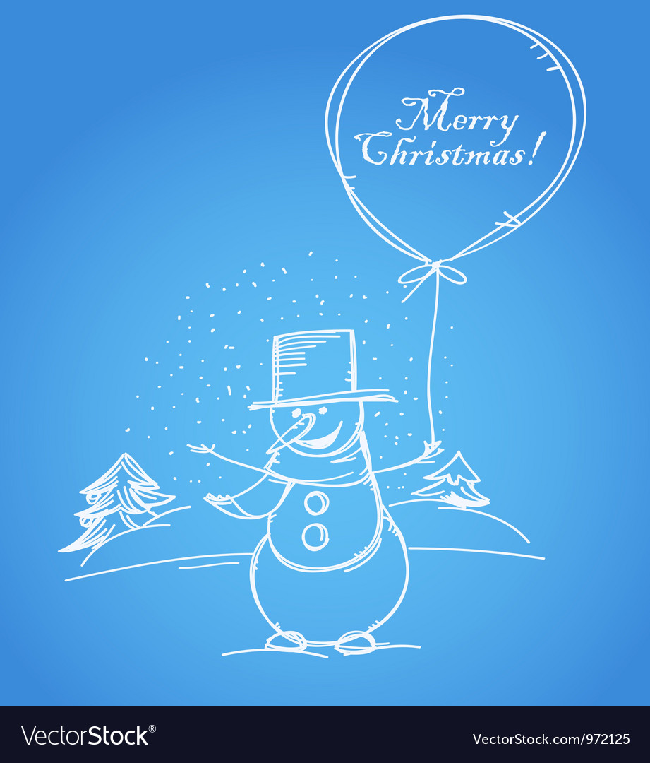 Merry christmas from smiling snowman vector | Price: 1 Credit (USD $1)