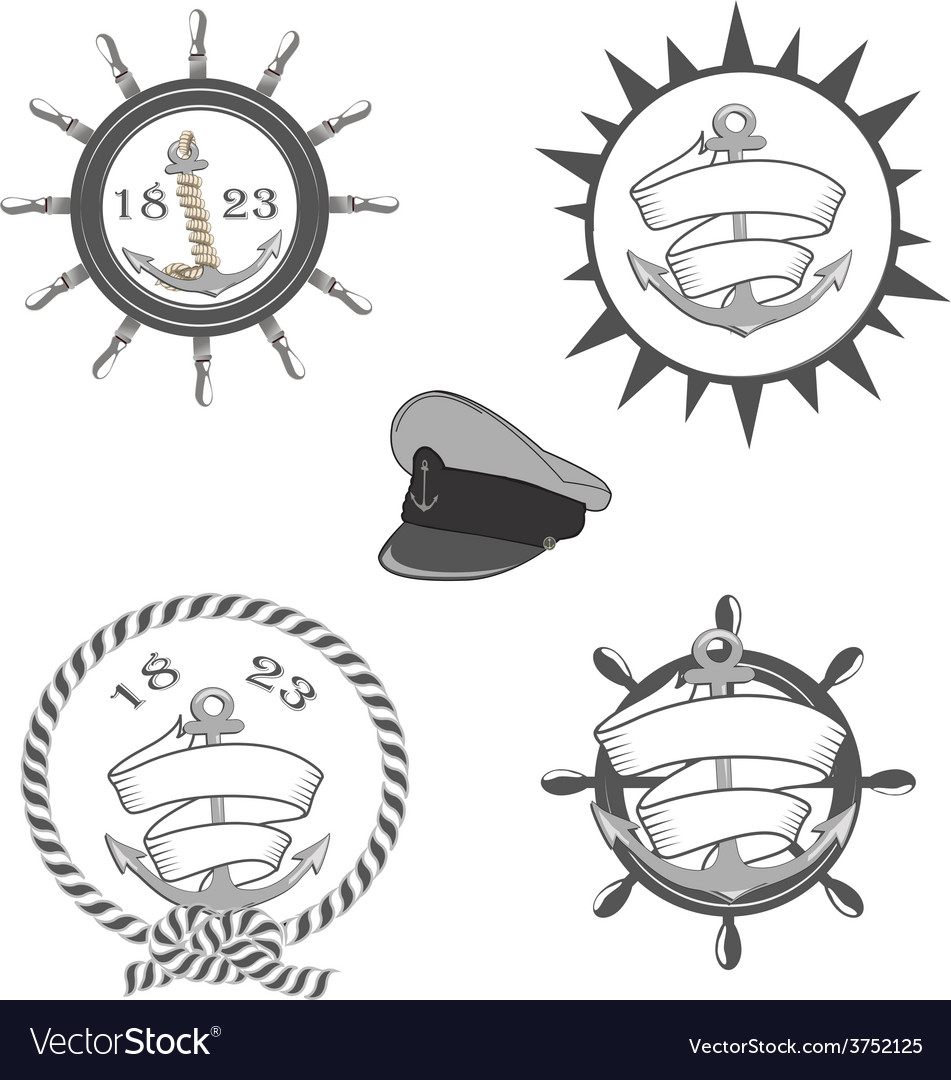 Nautical labels icons and design elements vector | Price: 1 Credit (USD $1)