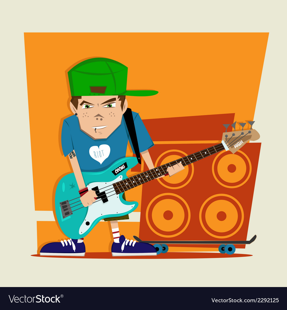 Punk rock boy bass player vector | Price: 1 Credit (USD $1)