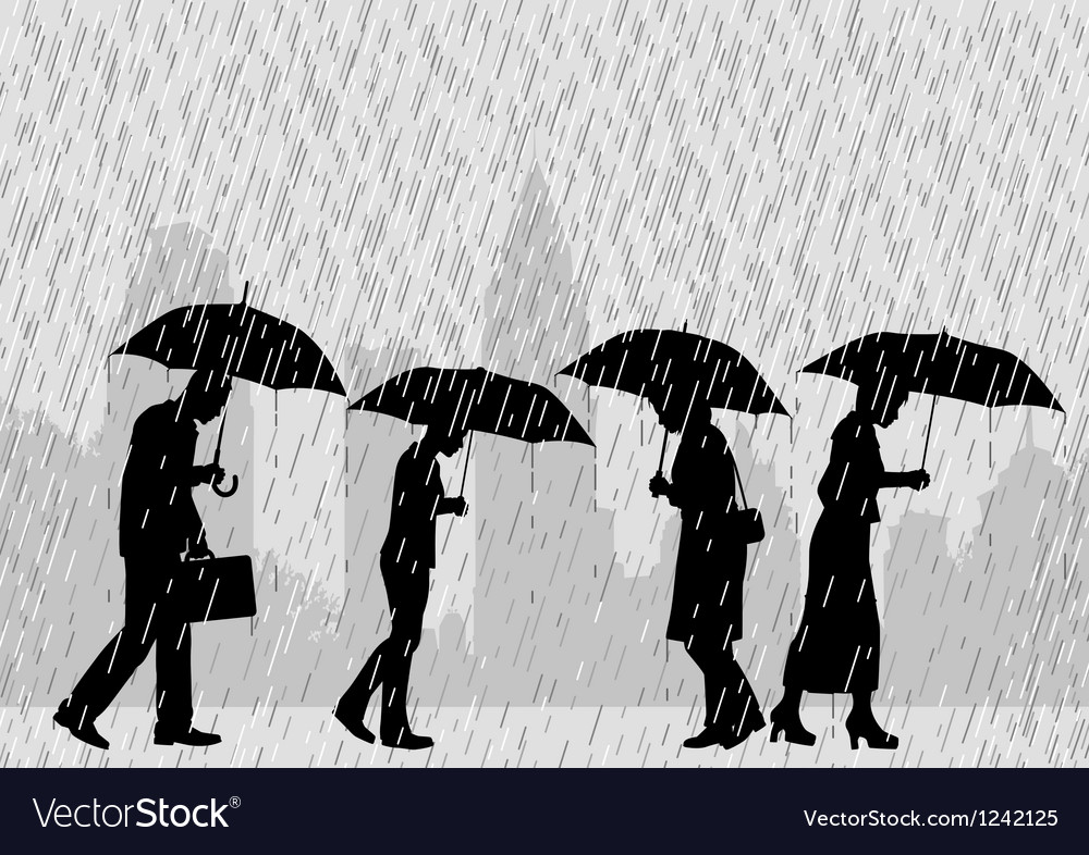 Rain people vector | Price: 1 Credit (USD $1)
