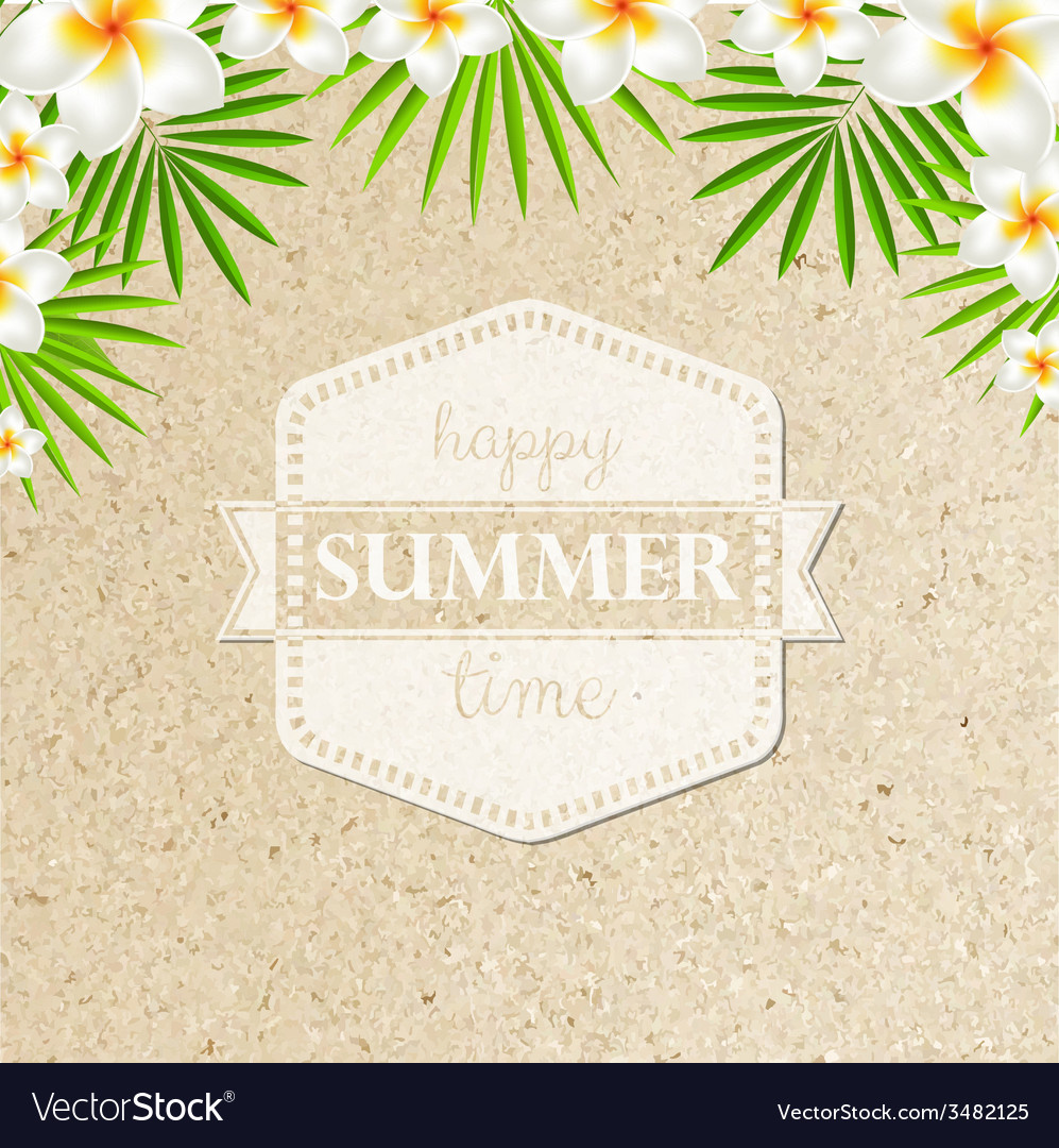 Sand background with frangipani vector | Price: 1 Credit (USD $1)