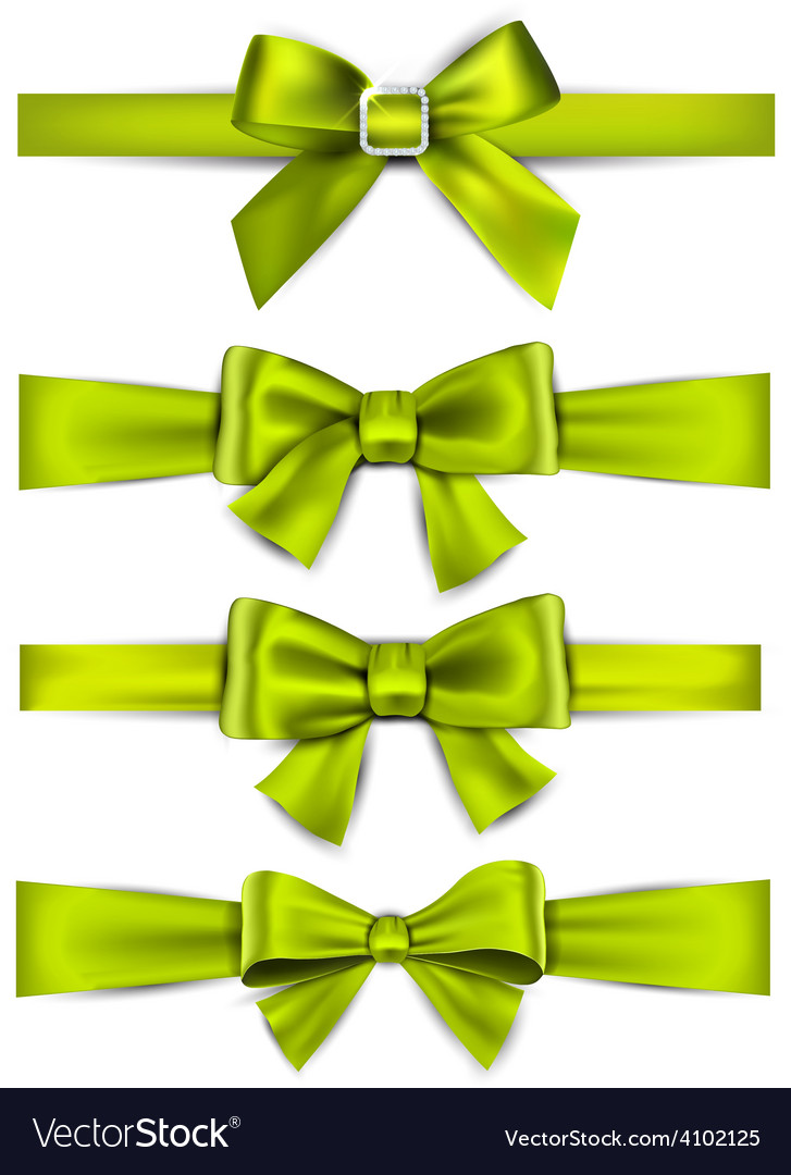 Satin green ribbons gift bows vector | Price: 1 Credit (USD $1)