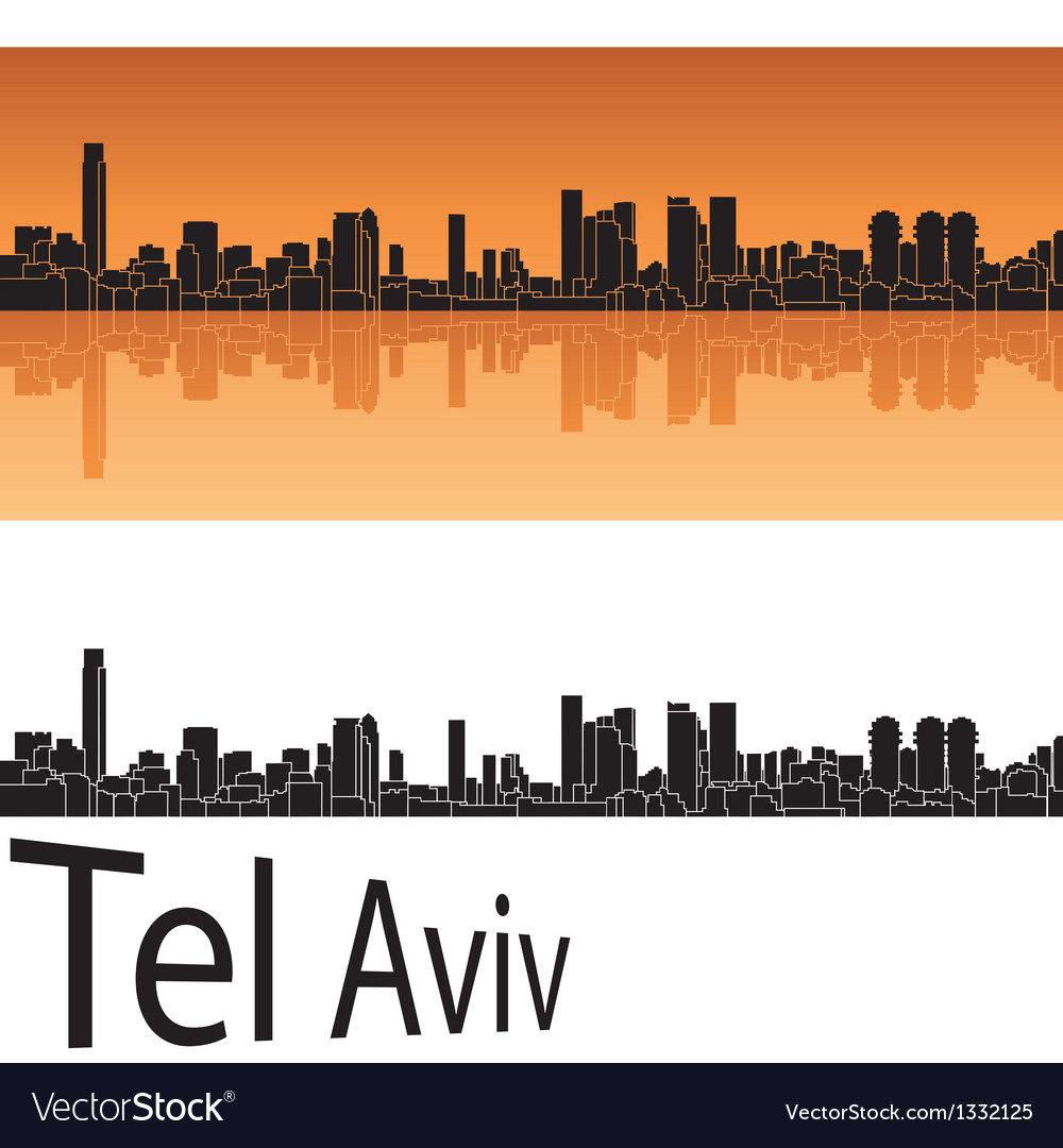 Tel aviv skyline in orange background vector | Price: 1 Credit (USD $1)