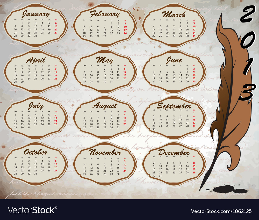 Vintage calendar with feather vector | Price: 1 Credit (USD $1)