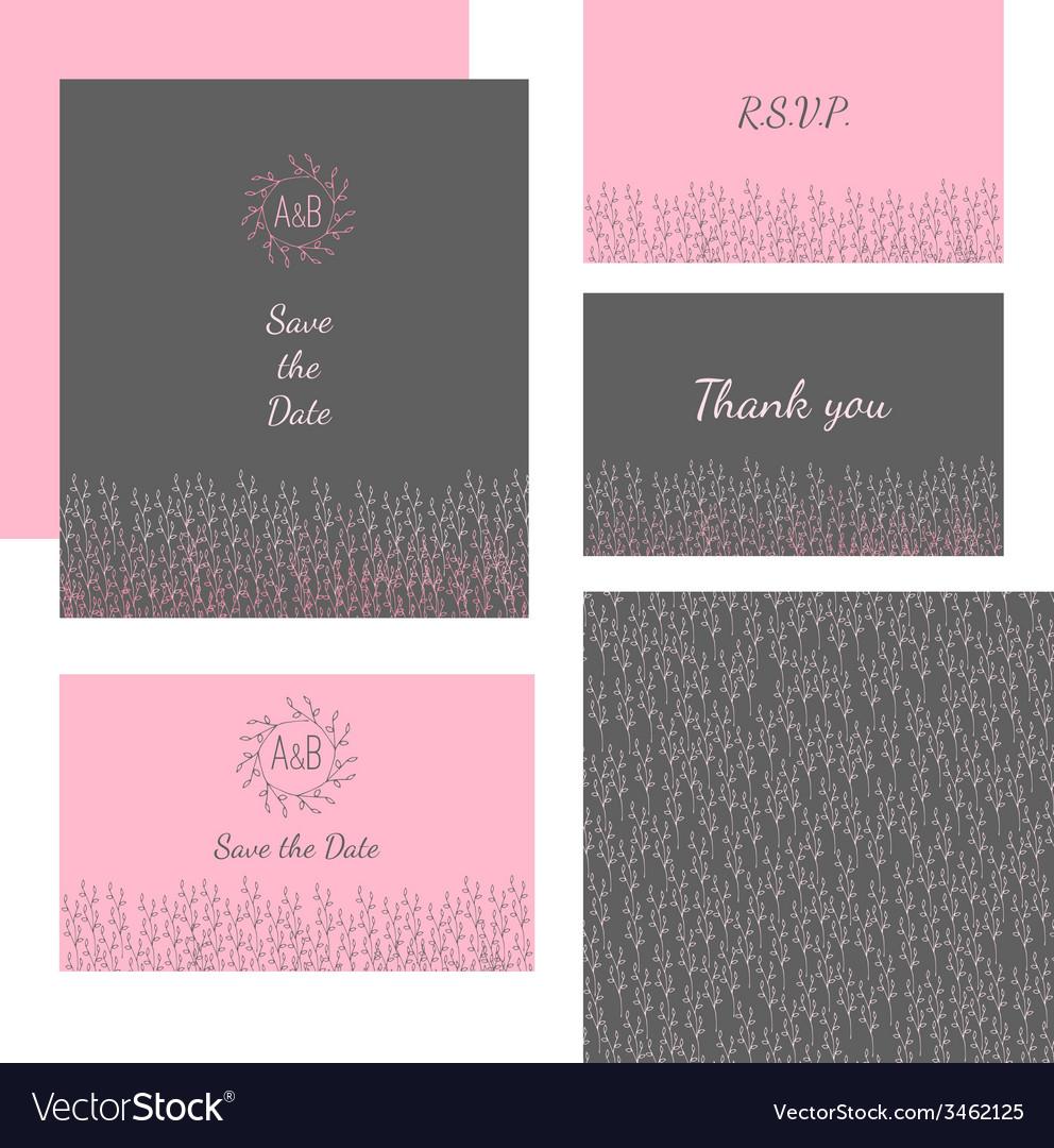 Wedding stationery design set vector | Price: 1 Credit (USD $1)