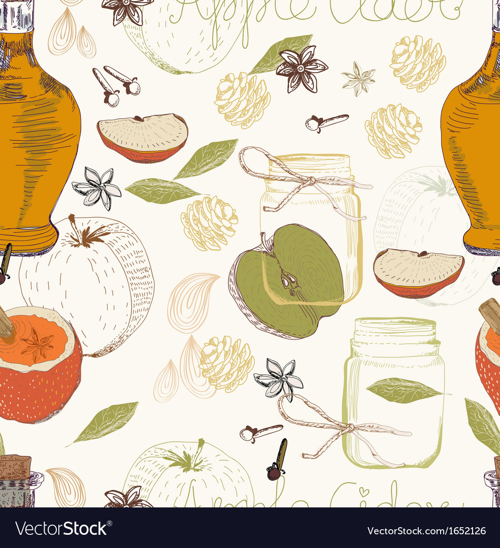 Apple cider seamless background vector | Price: 1 Credit (USD $1)