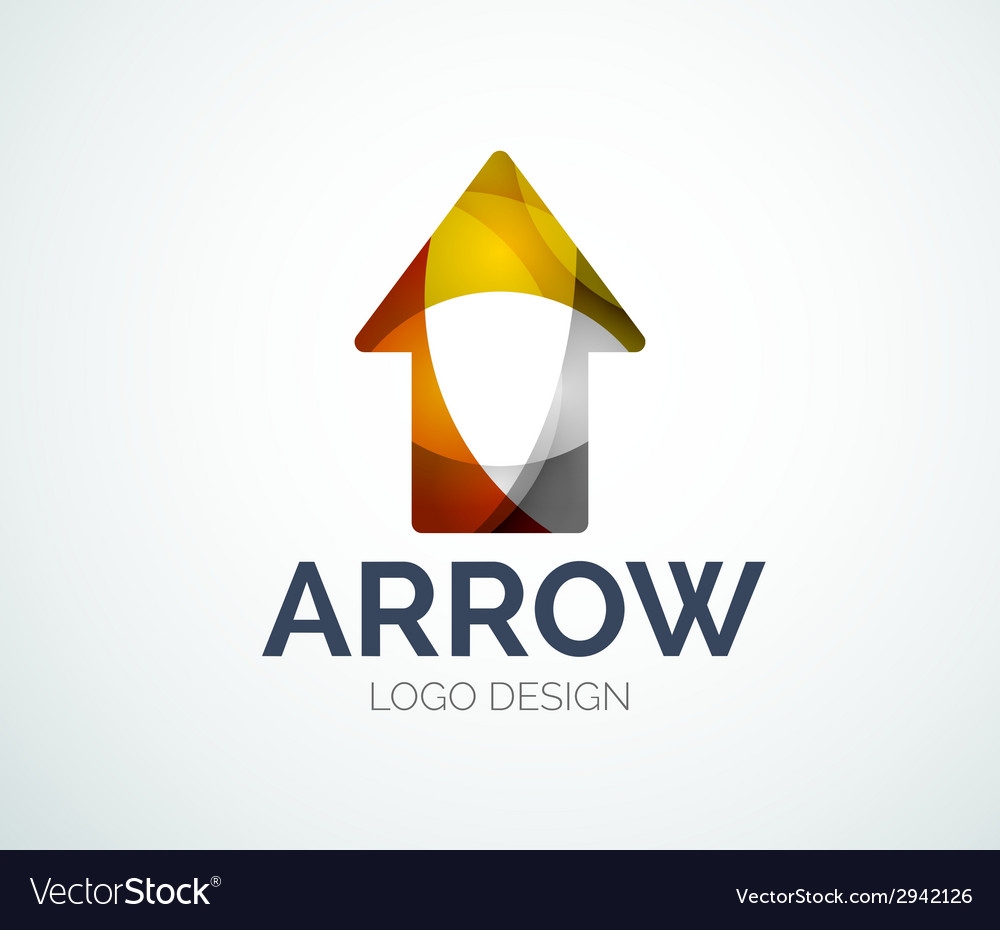 Arrow icon logo design made of color pieces vector | Price: 1 Credit (USD $1)