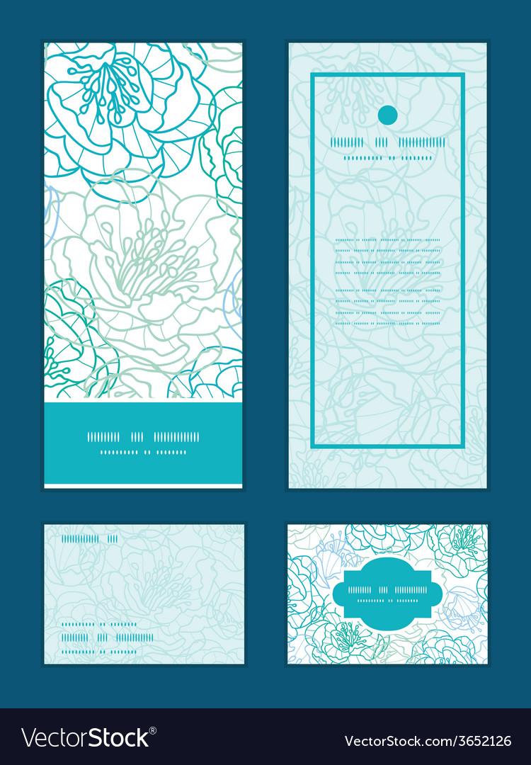 Blue line art flowers vertical frame pattern vector | Price: 1 Credit (USD $1)