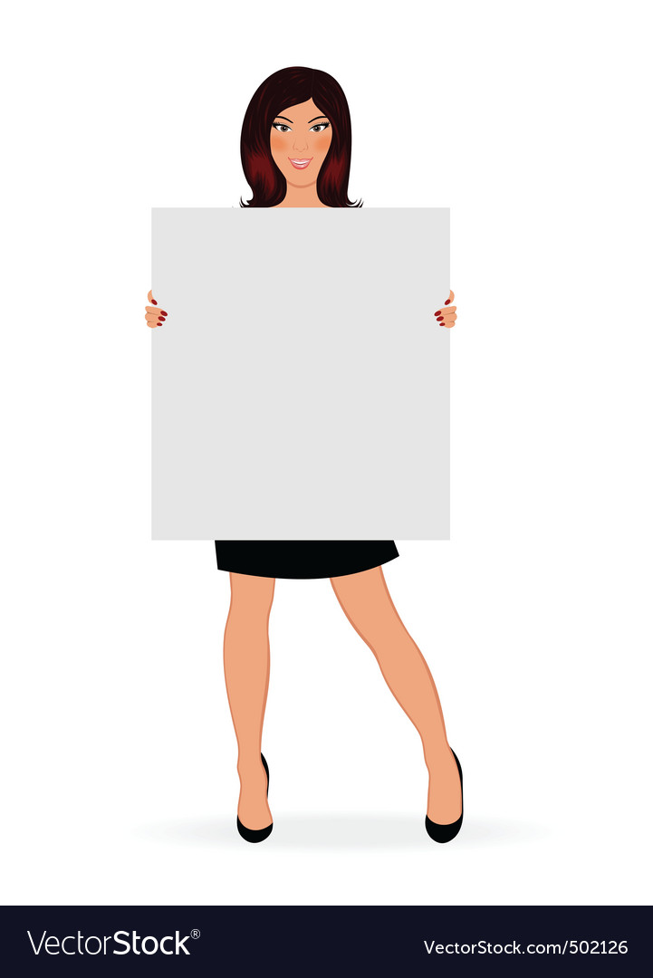 Business girl with board isolated vector | Price: 1 Credit (USD $1)