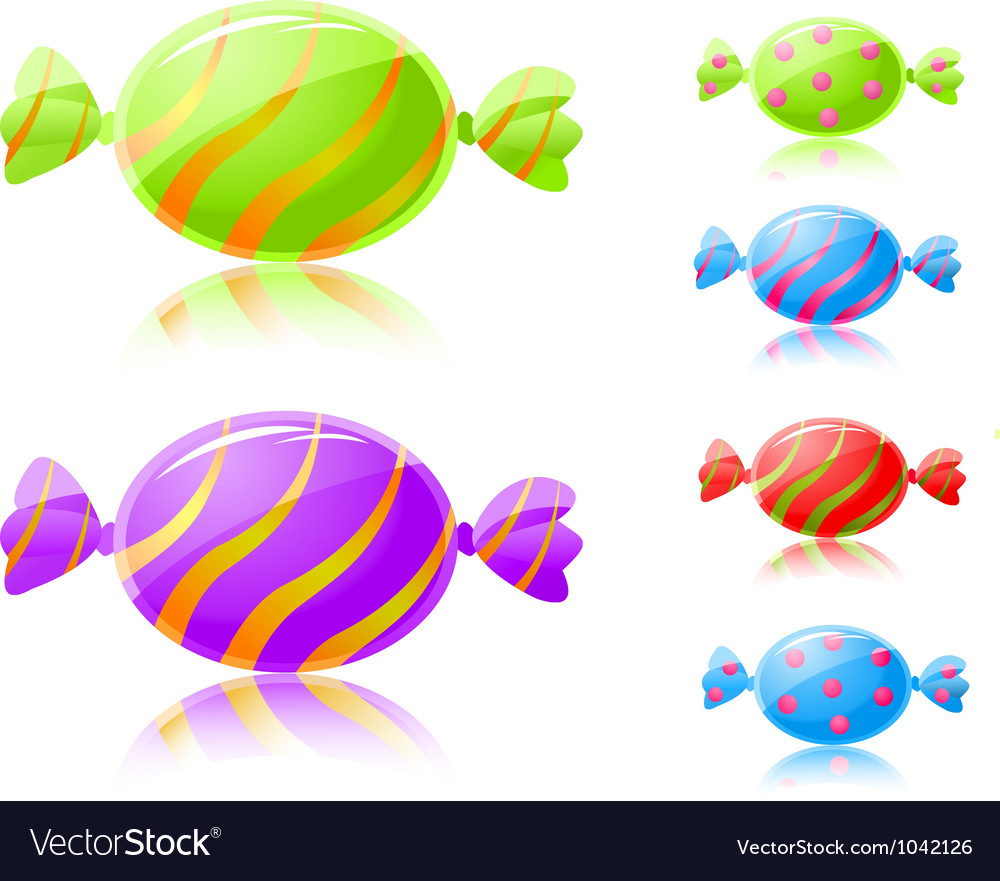Colorful candies in wrapper vector | Price: 1 Credit (USD $1)