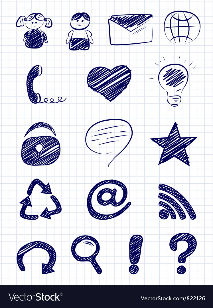 Hand drawn internet and web icons vector | Price: 1 Credit (USD $1)