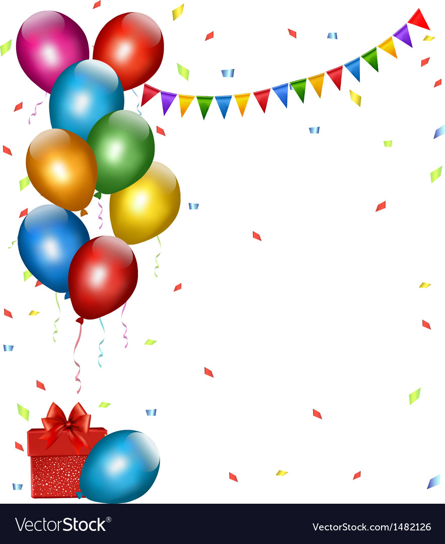 Holiday background with colorful balloons and gift vector   Price: 1 Credit (USD $1)