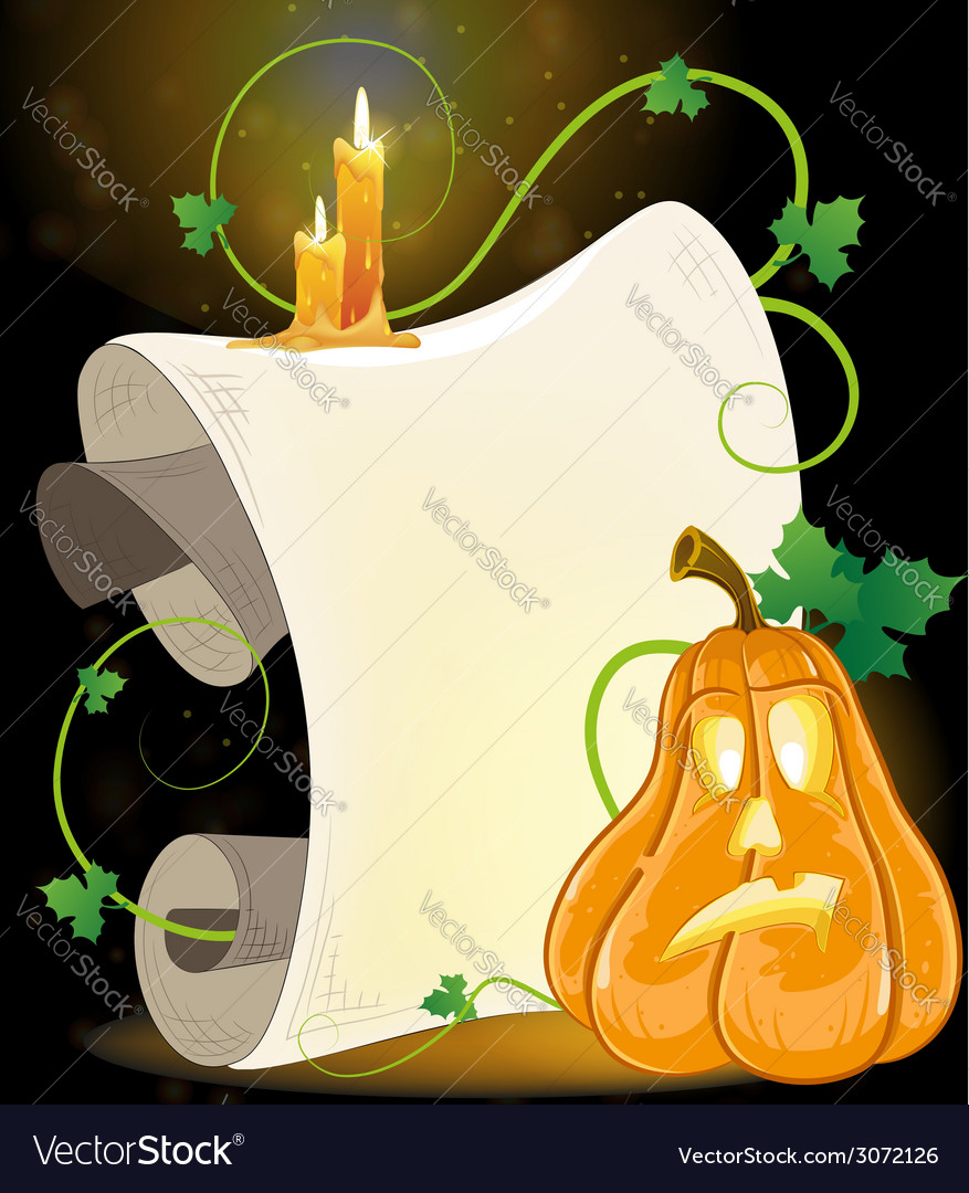 Jack o lantern parchment and burning candles vector | Price: 3 Credit (USD $3)