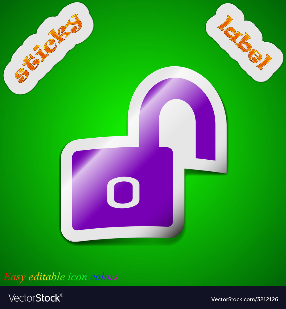 Lock icon sign symbol chic colored sticky label on vector   Price: 1 Credit (USD $1)