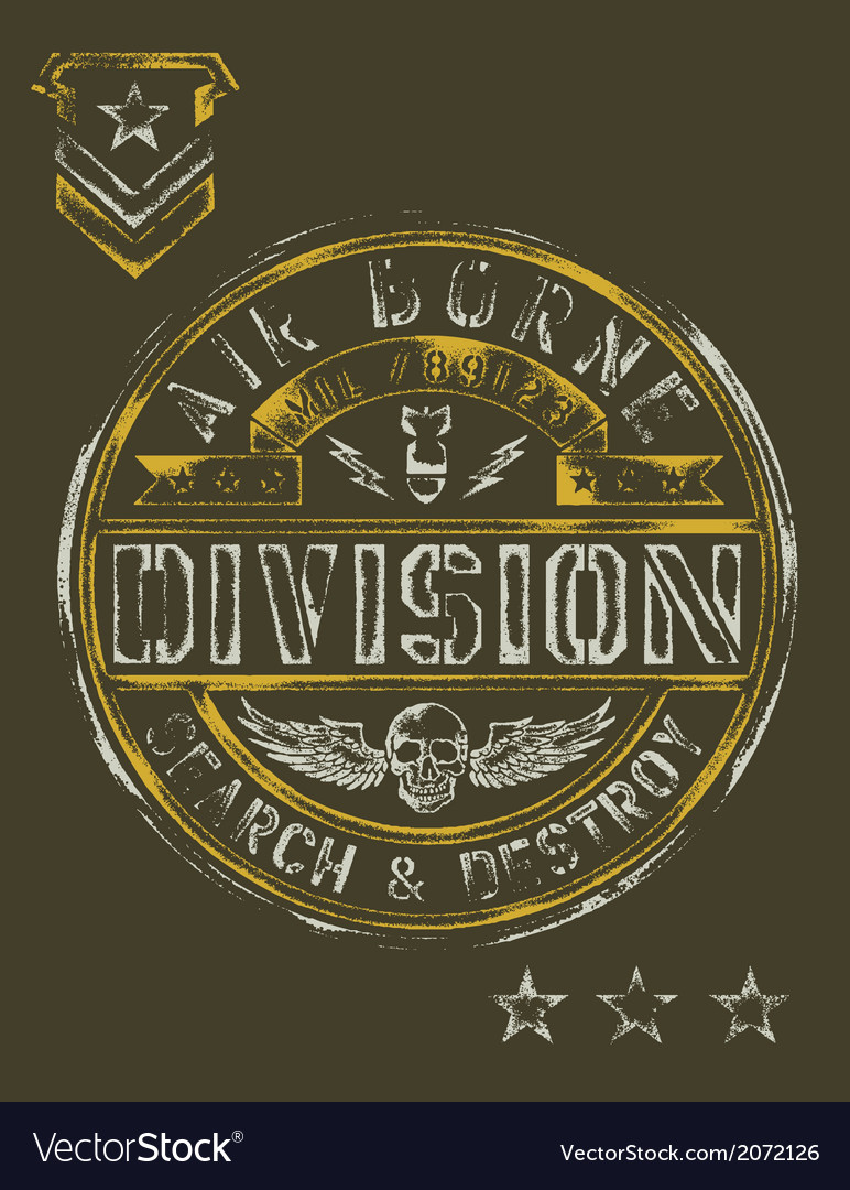 Military stencil vintage t-shirt graphic vector | Price: 1 Credit (USD $1)