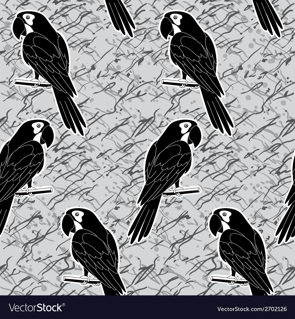 Seamless pattern black and white parrots vector | Price: 1 Credit (USD $1)