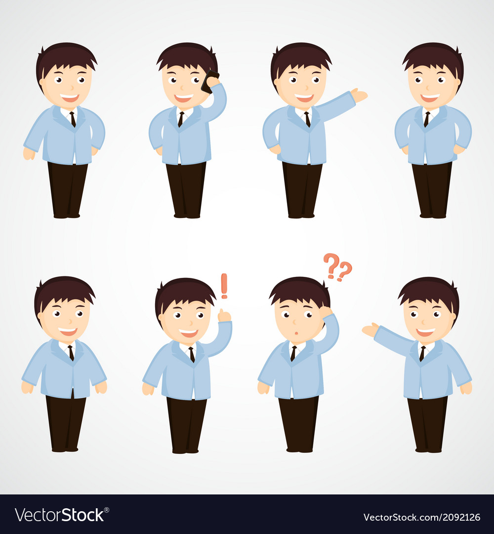 Set of funny cartoon office worker in various pose vector | Price: 1 Credit (USD $1)
