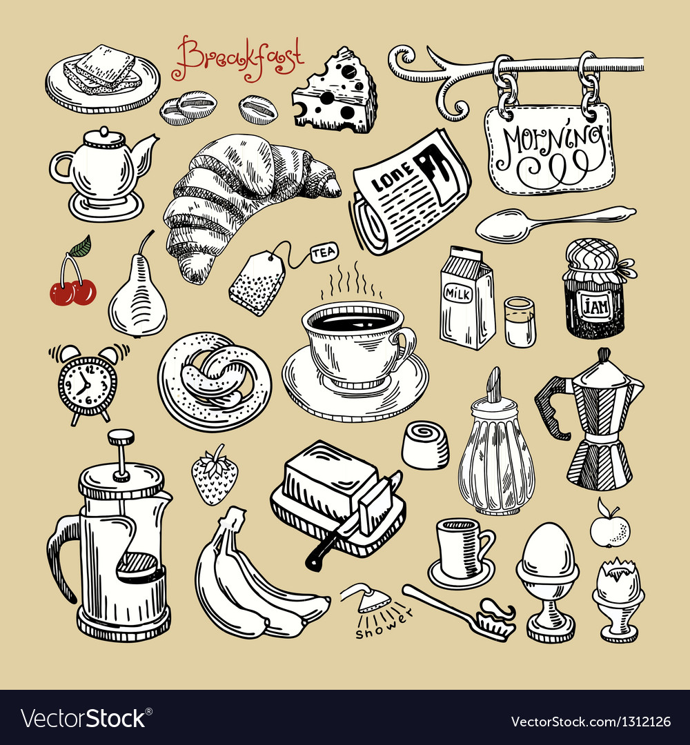 Sketch morning breakfast set vector