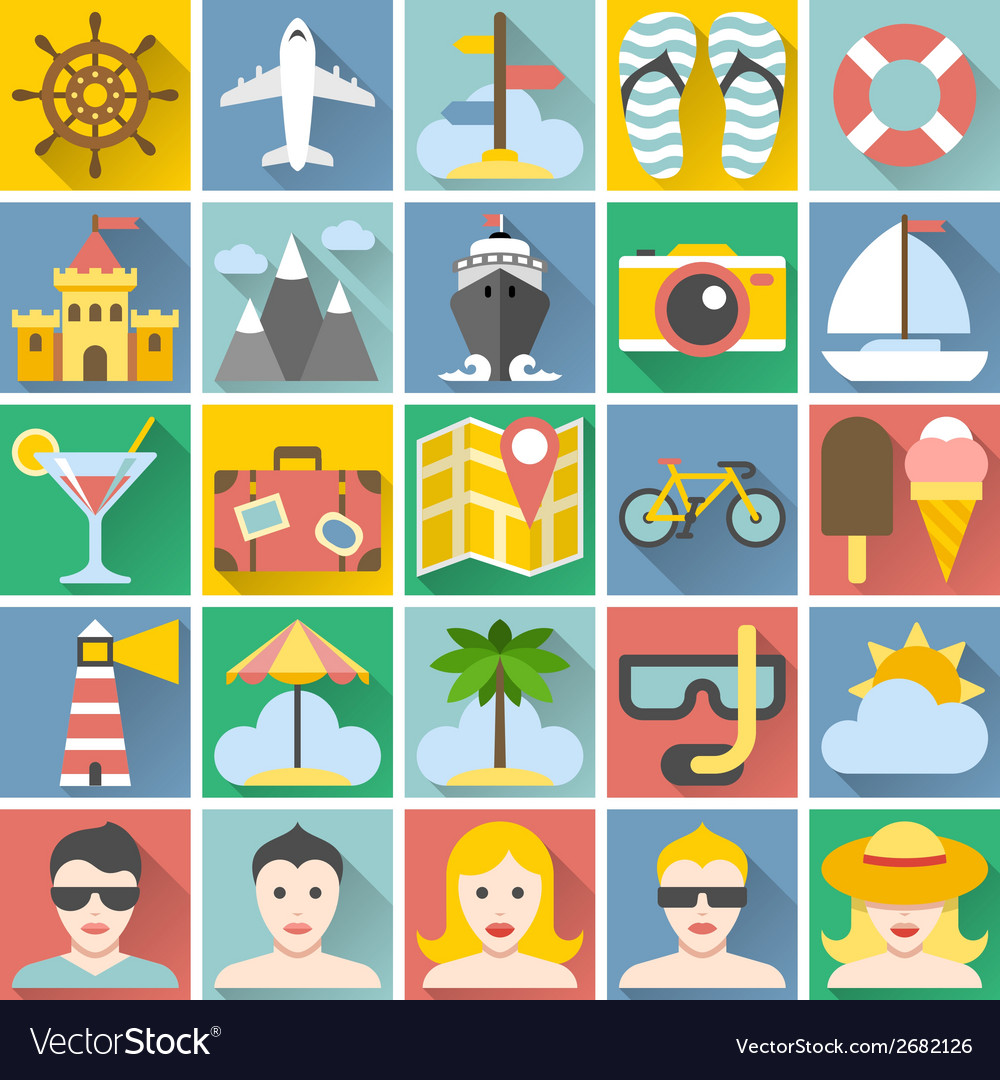 Summer icons set flat design vacation and beach vector | Price: 1 Credit (USD $1)