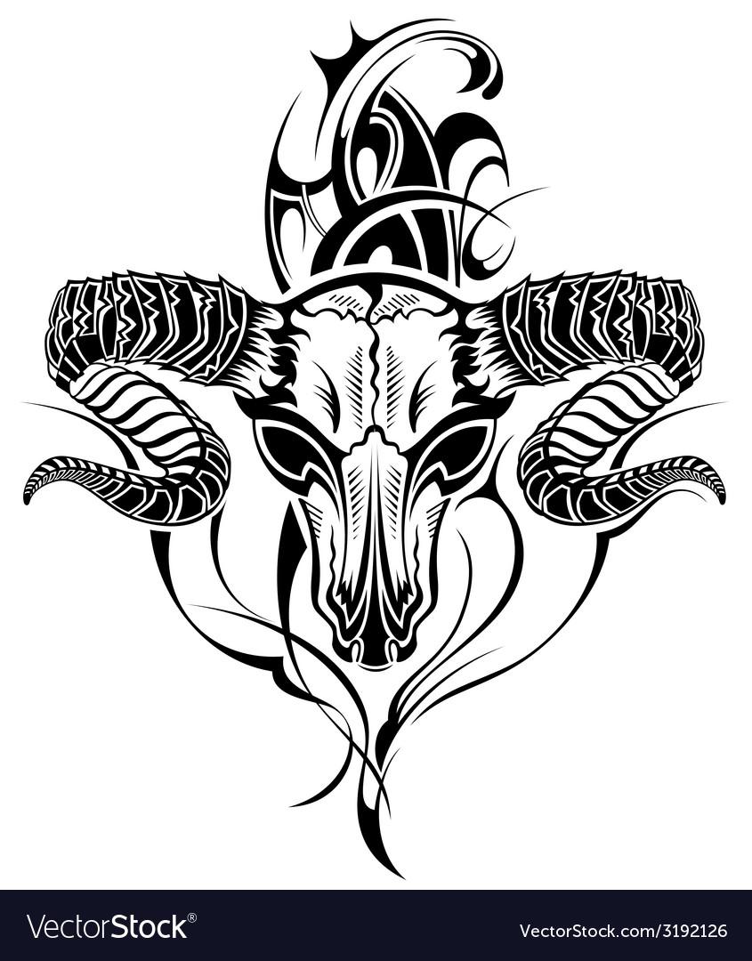 Tattoo skull goat vector | Price: 1 Credit (USD $1)