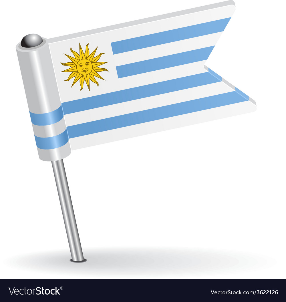 Uruguay pin icon flag vector | Price: 1 Credit (USD $1)