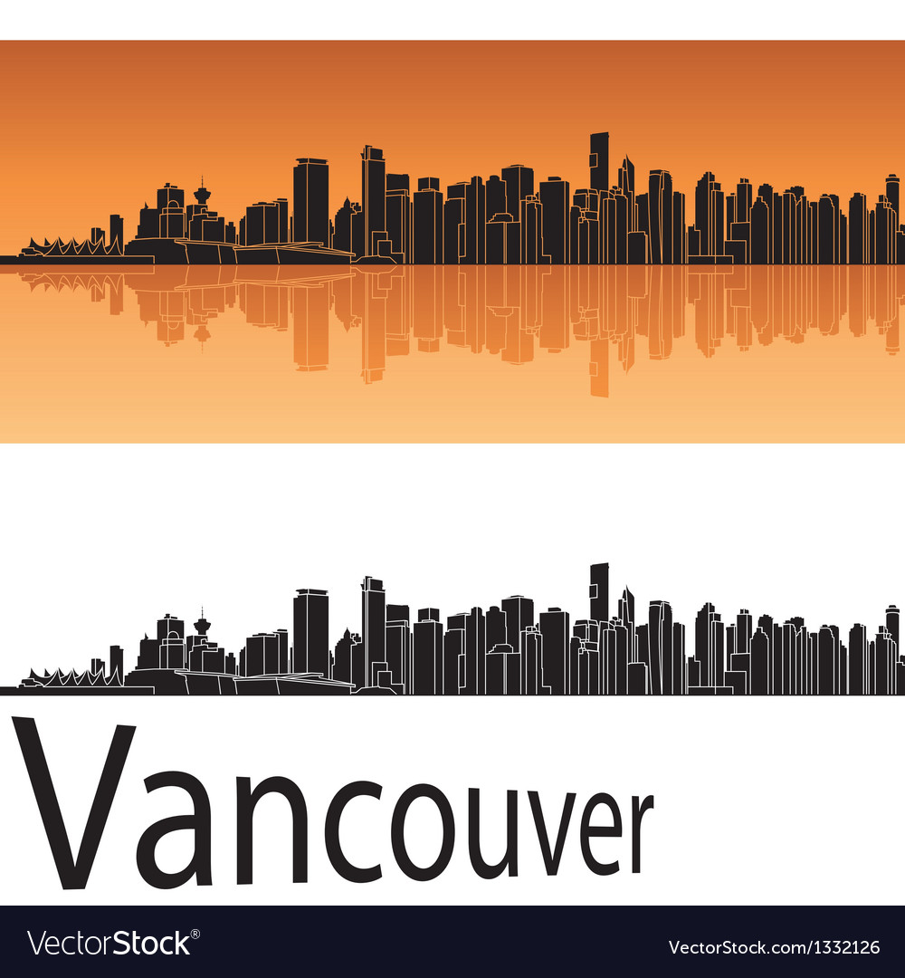 Vancouver skyline in orange background vector | Price: 1 Credit (USD $1)