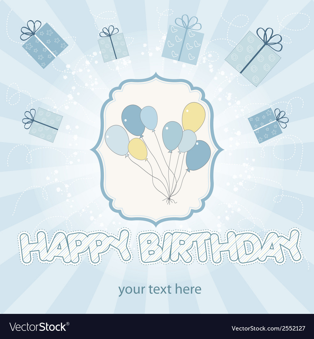 Birthday card with balloons vector | Price: 1 Credit (USD $1)