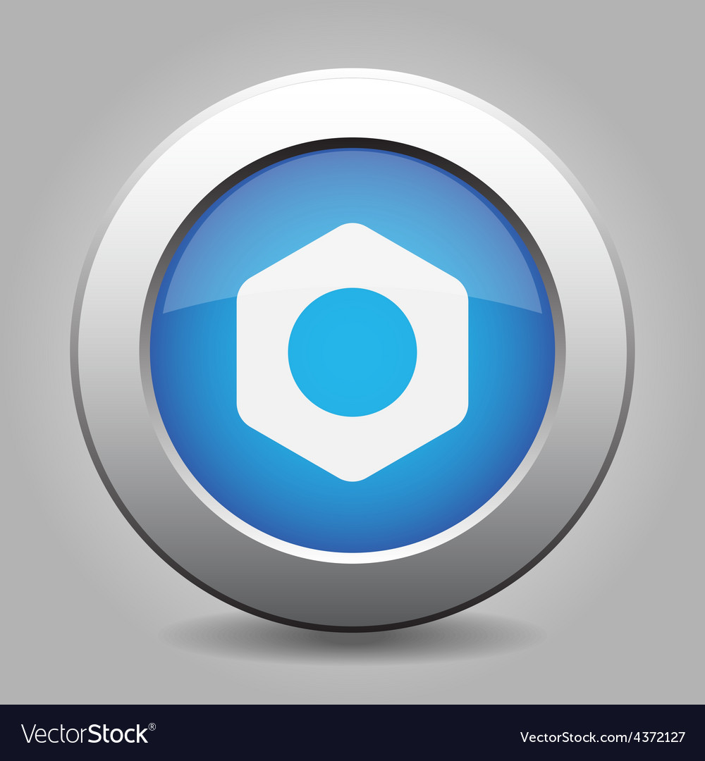 Blue metal button with nut vector | Price: 1 Credit (USD $1)