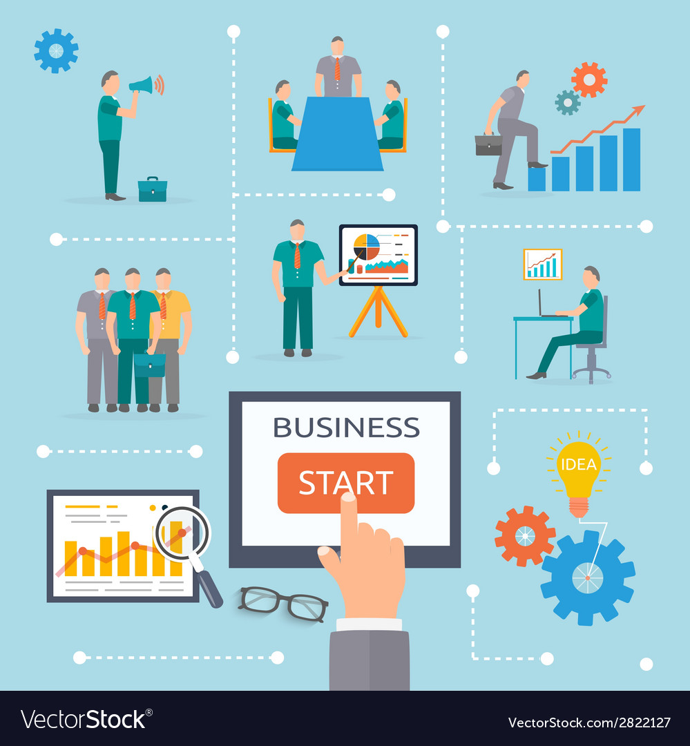 Business start infographics template vector | Price: 1 Credit (USD $1)