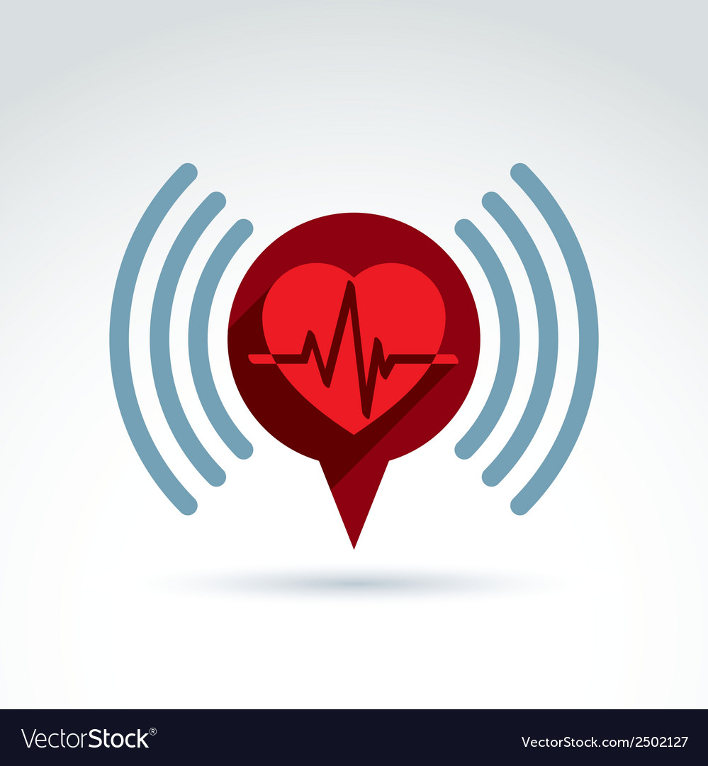 Cardiology cardiogram heart beat information icon vector | Price: 1 Credit (USD $1)