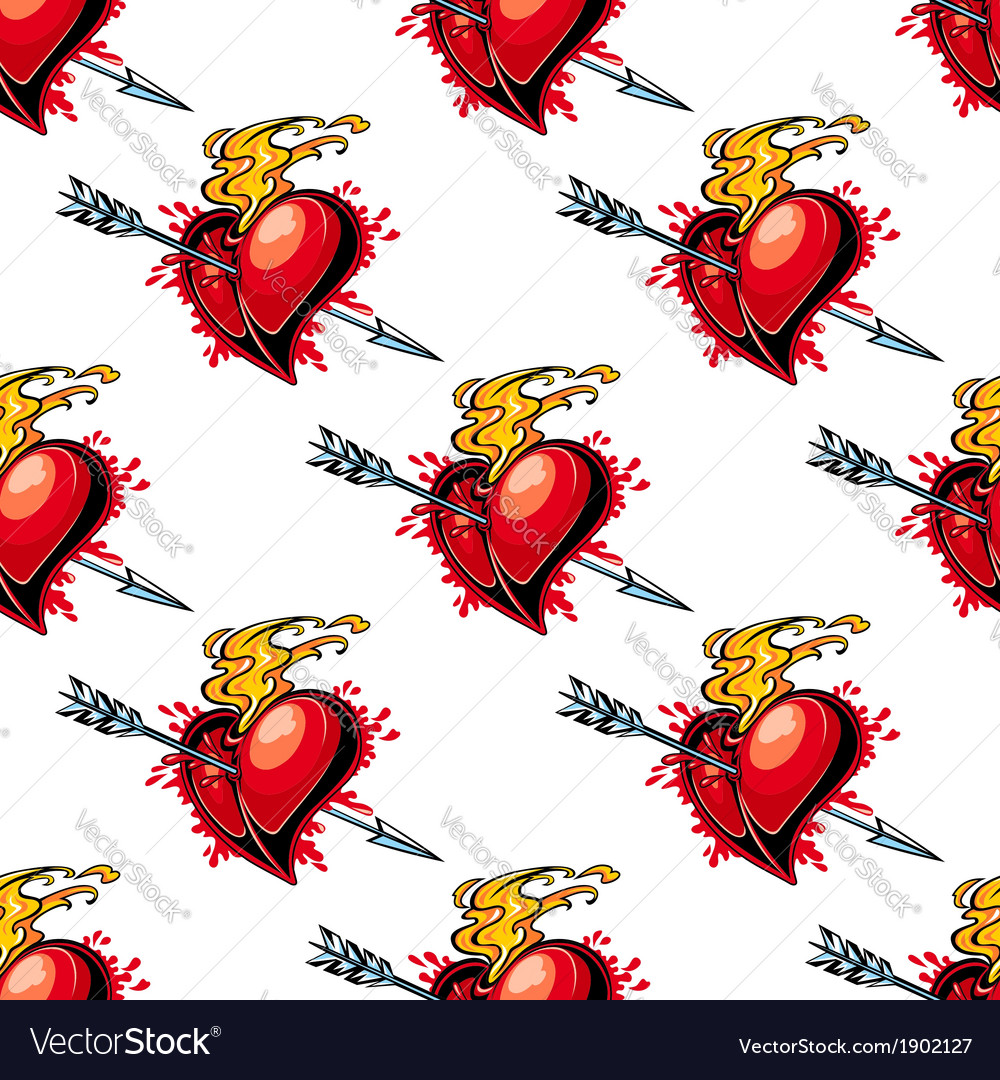 Flaming red heart pierced by an arrow vector | Price: 1 Credit (USD $1)