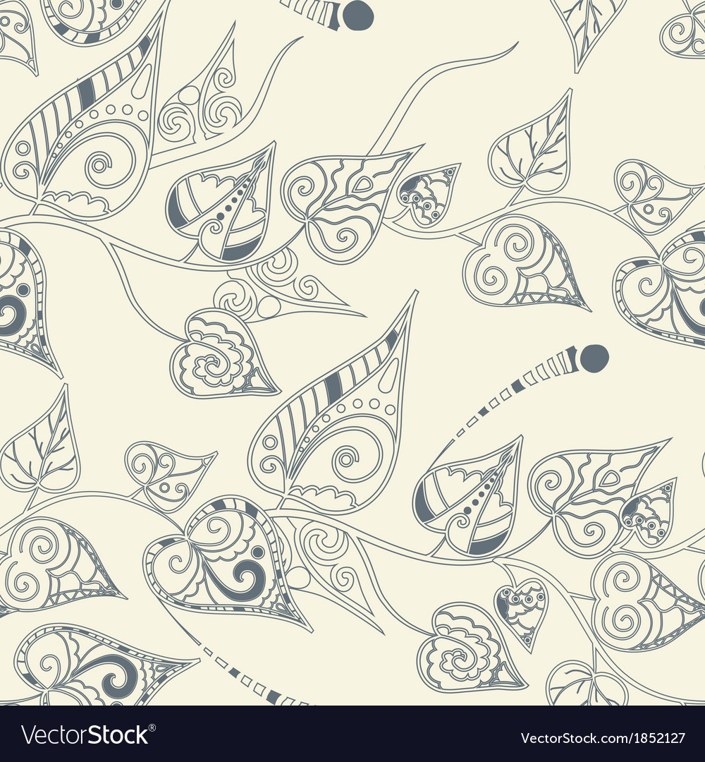 Floral pattern with curly leaves vector | Price: 1 Credit (USD $1)