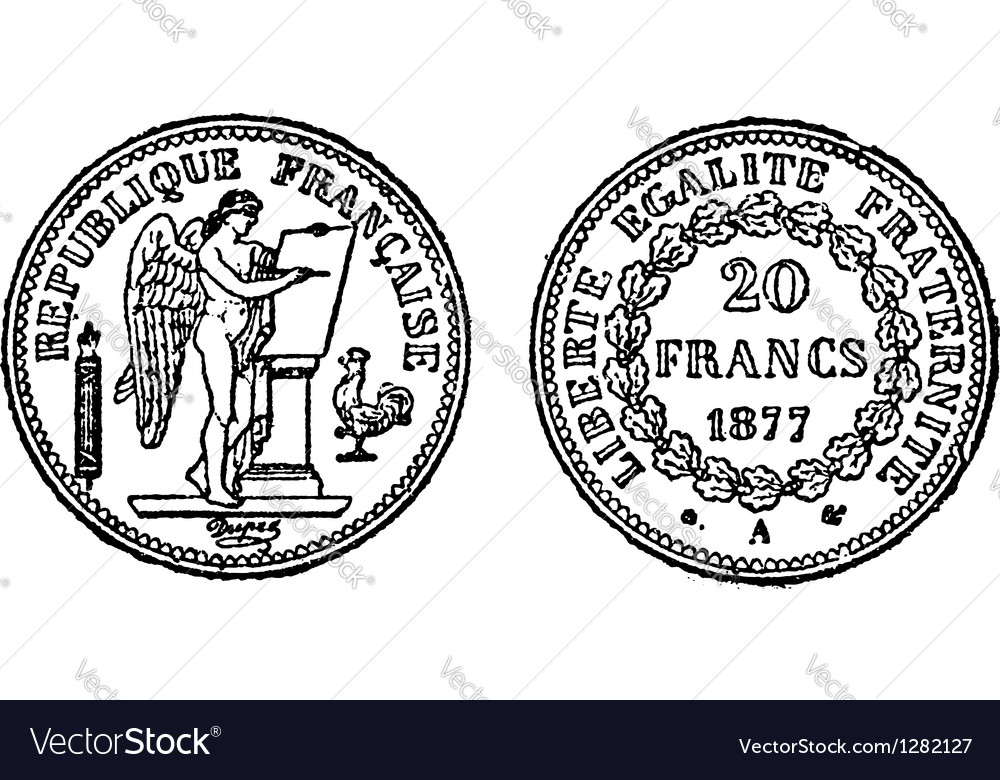 Gold francs coins engraving vector | Price: 1 Credit (USD $1)