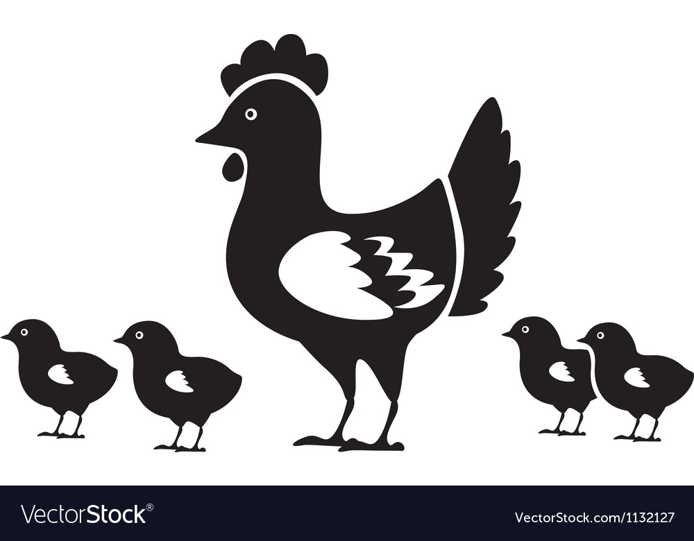 Hen with chicks vector | Price: 1 Credit (USD $1)