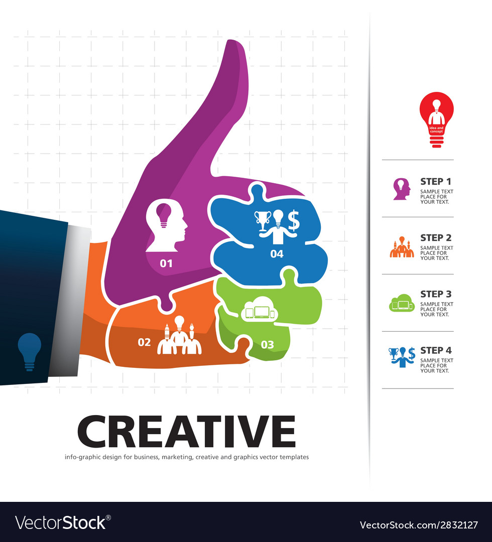 Info graphic template with businessman hand jigsaw vector | Price: 1 Credit (USD $1)